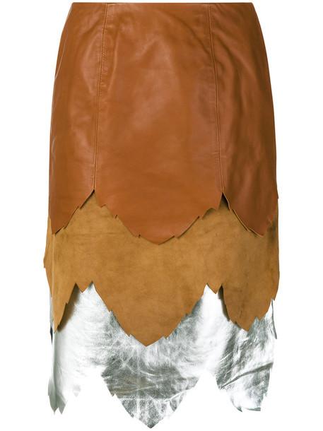 JW Anderson - layered skirt - women - Cotton/Lamb Skin/Polyamide - 12, Brown, Cotton/Lamb Skin/Polyamide