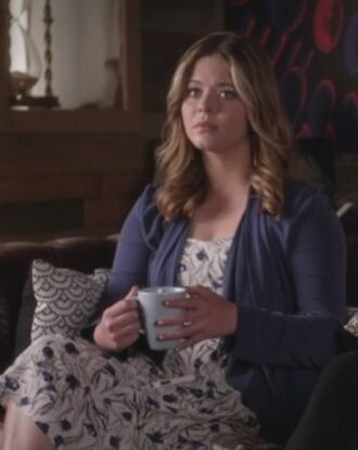 dress floral sasha pieterse alison dilaurentis pretty little liars blue cardigan