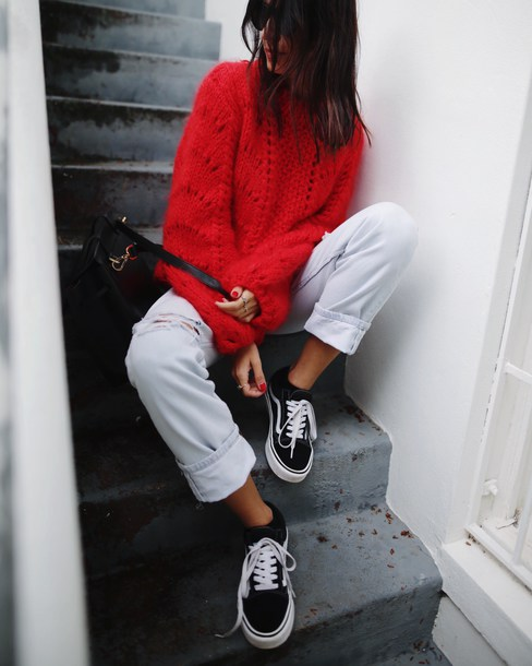 Sweater tumblr red sweater jeans denim white jeans sneakers black sneakers shoes ...
