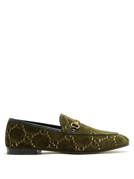 jacquard loafers velvet khaki shoes