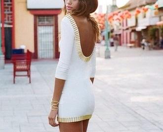 dress white dress cutout back low back dress scoop back dress gold dress