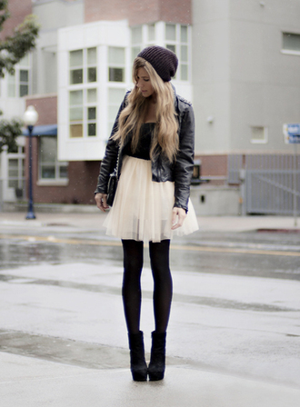 skirt ballerina tulle skirt black high heels shoes dress jacket clothes streetstyle heels leggings leather jacket tights trendy white skirt pretty winter outfits style fashion fall outfits black leather jacket little black dress black and white dress black shoes boots black boots black heels edgy chic and edgy