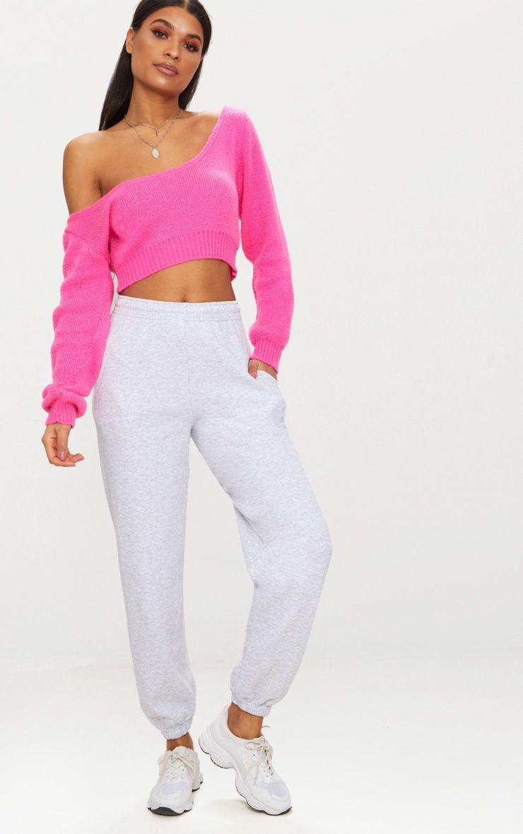Bright Pink V Neck Off Shoulder Knitted Cropped Sweater