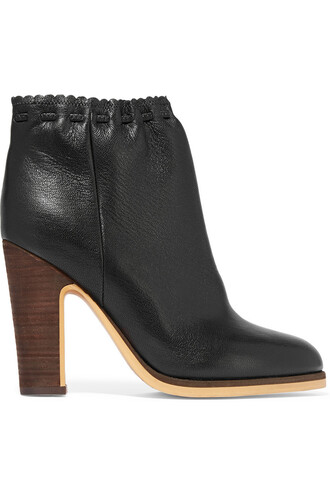 leather ankle boots scalloped boots ankle boots leather black shoes