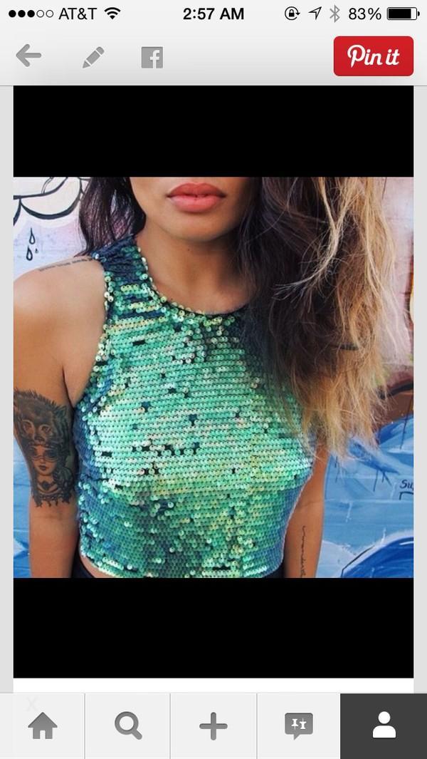 green sequins crop tops sequins green summer top summer outfits tank top