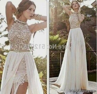 dress prom dress white prom dress formal dress gown cream dress