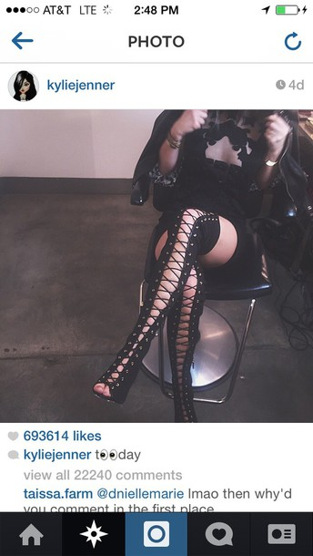 black kylie jenner lace up boots sexy dress black boots lace up boots boots shoes heels kylie jenner sexy thigh high boots kylie jenner shoes