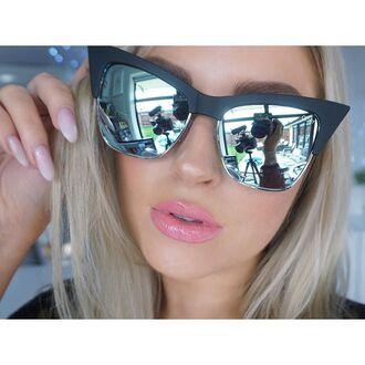 sunglasses quay cat eye mirrored sunglasses pink lipstick nail polish