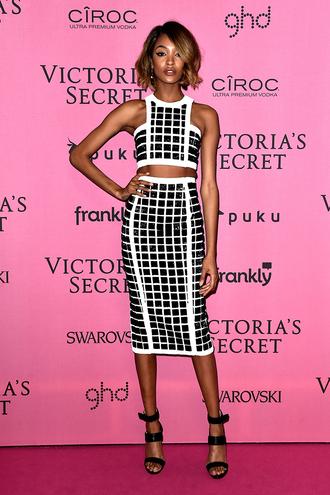 skirt pencil skirt black and white sandals jourdan dunn victoria's secret crop tops