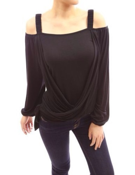 long sleeve shirt black cute patty women patty woman boutique off the shoulder