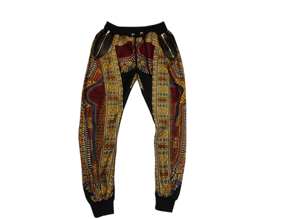 African  Black and Burgundy Sweat Pants | Toure