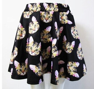 skirt cats cute kawaii animal skater skirt fashion style trendy teenagers neko black japanese fashion