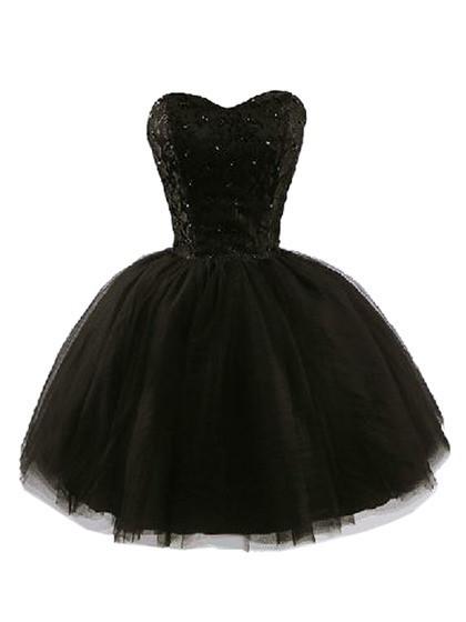 Sarah black strapless beaded dress with lace pane