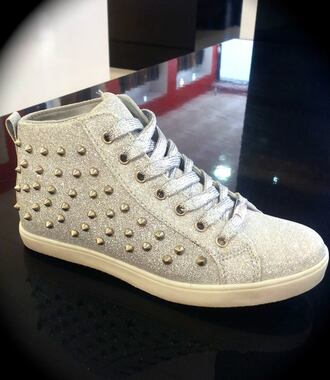 shoes silver spikes sneaker