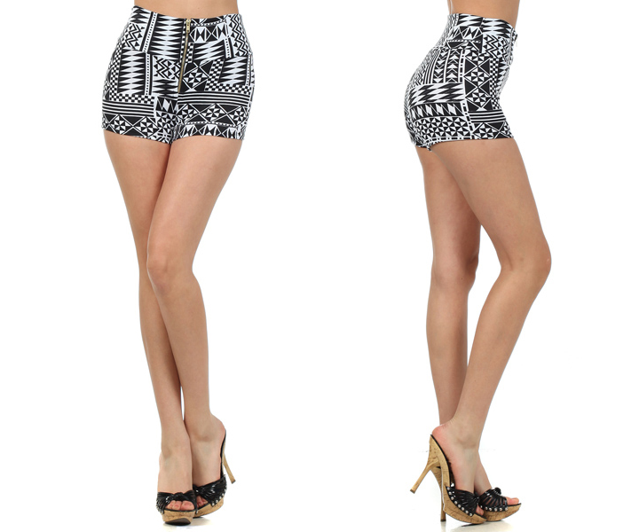 High Waisted Black and White Aztec Tribal Print Mini Hot Shorts ...