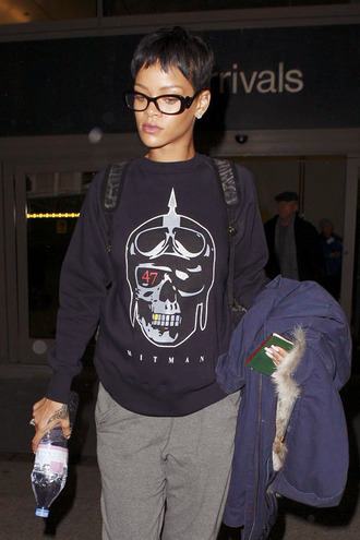 sunglasses black eyeglasses rihanna sweater