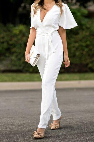 lace and locks blogger jumpsuit jewels shoes bag sunglasses ysl bag white jumpsuit pumps
