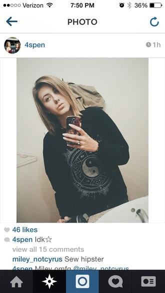 top black bohemian sweatshirt hippie grudge ying yang sweater