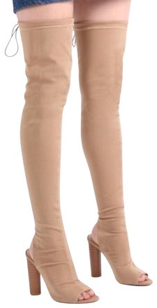 Public Desire Nude Thigh High Boots/Booties Size US 10 Regular (M, B)