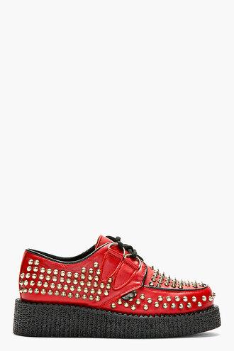 stud shoes women red allover wulfrun platform shoes flats