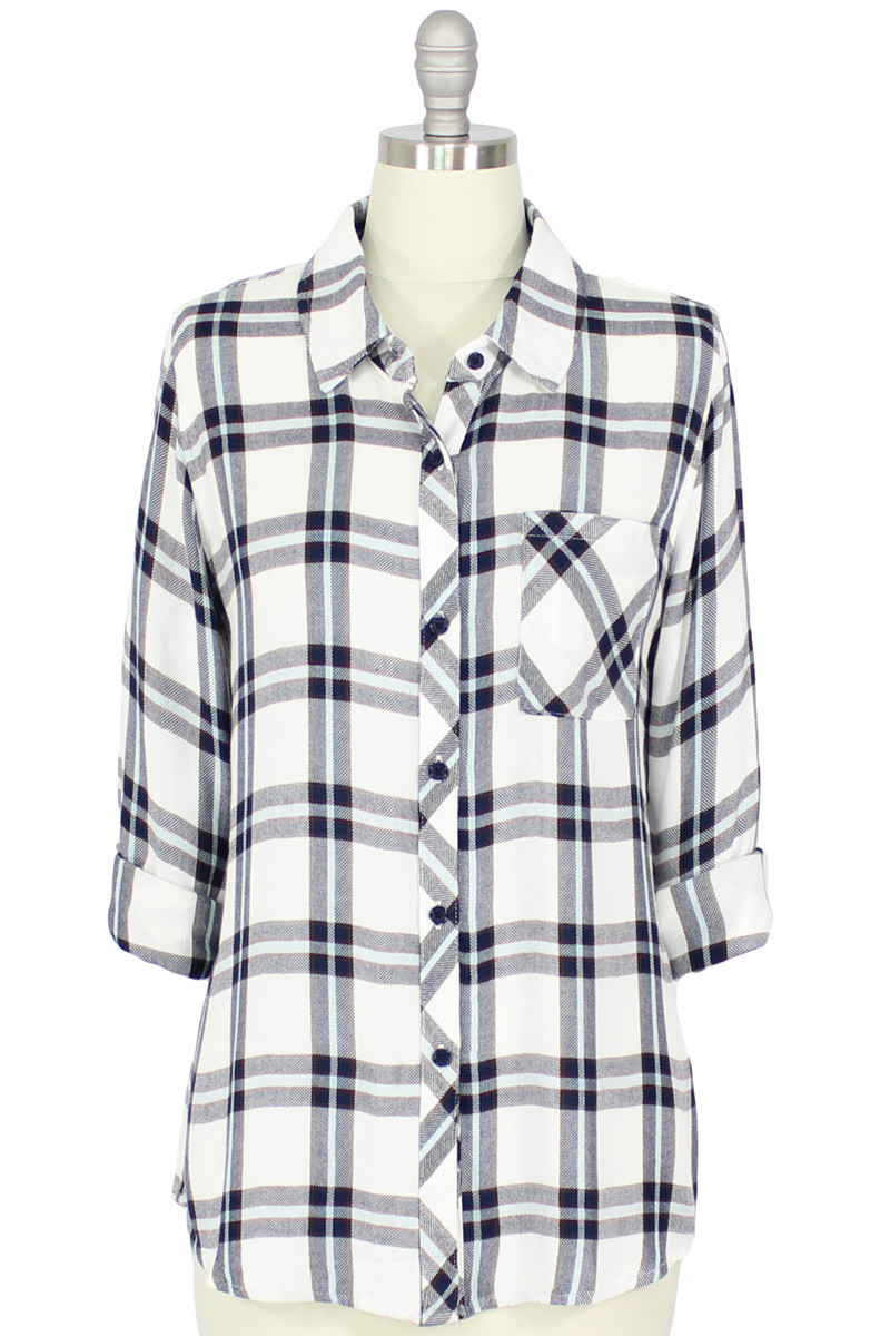 Rails Hunter Button Down Shirt in White/Marine