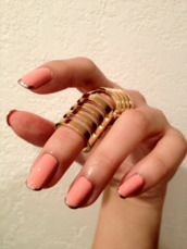 jewels,gold,ring,nails,knuckle ring,gold rimg,gold ring,armor ring,full ring,cute polish,shiny