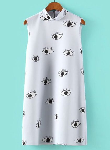 Light Blue Stand Collar Eyes Print Straight Dress - Sheinside.com