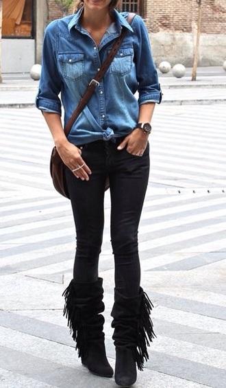 shoes black boots fringe shoes fashion jeans shirt