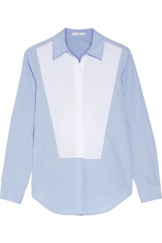 shirt back open cotton blue sky blue top