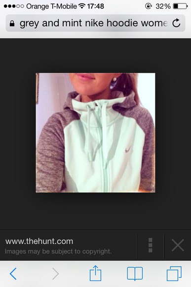 sweater hoodie grey mint green nike sweater