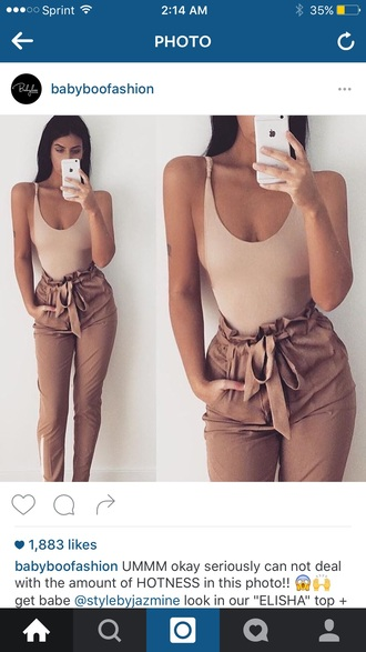 top nude bodysuit pants jeans loose khaki tan camel beige bow ruched gathered flounce trouser tie bowtie girl women iphone iphone6 iphone 6 case skinny tight