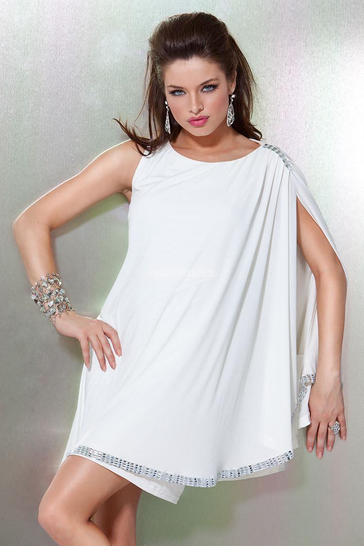 Draping Jewel Neck White Chiffon Beading Full Back Prom Dress - Promdresshouse.com