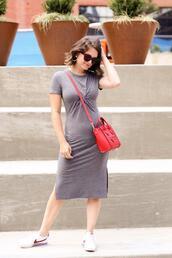 polishedclosets,blogger,dress,shoes,jewels,sunglasses,bag,nike,sneakers,grey dress,red bag,nike sneakers