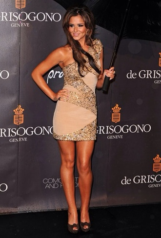 dress mini dress gold nude glitter cheryl cole red carpet