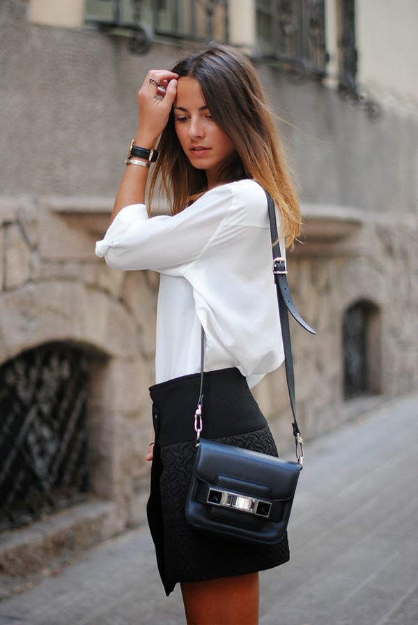 fashion vibe skirt shirt bag shoes