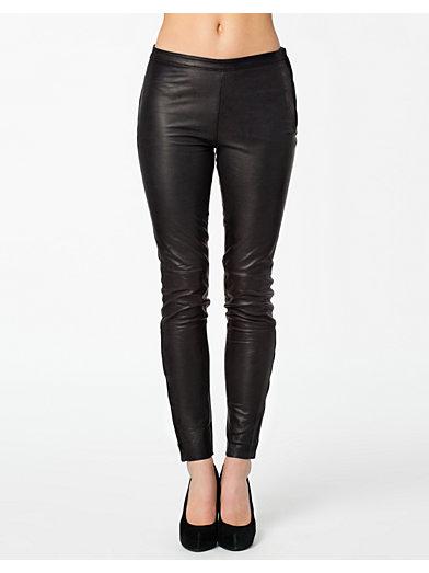 Sabrina Zip Leather Pants - Selected Femme - Sort - Bukser & Shorts - Tøj - Kvinde - Nelly.com