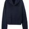 Turtleneck crop navy sweater -shein(sheinside)