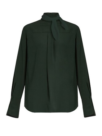 blouse high dark green top