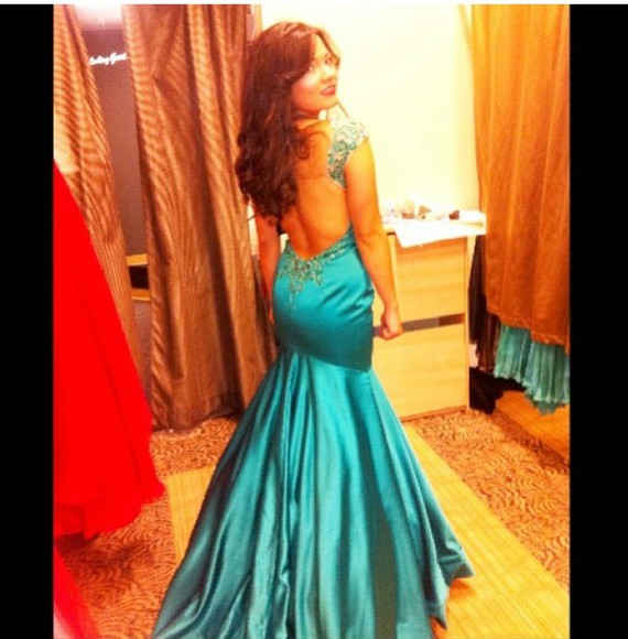 dress prom dress prom low back long prom dress teal dress mermaid prom dresses prom2014