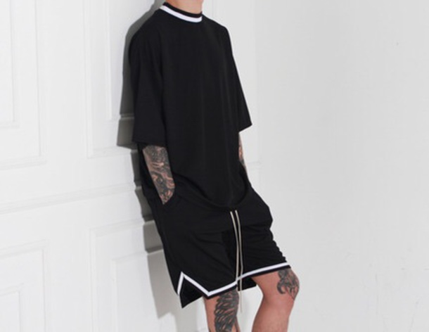 shorts black lined black white gallucks