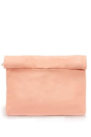Cute Peach Clutch - Vegan Leather Clutch - Peach Purse - $29.00