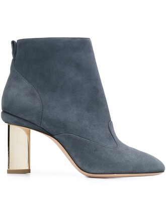 heel boots ankle boots blue shoes