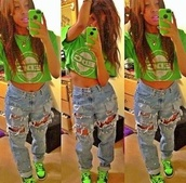 t-shirt,yesssss!,killem,dope,green,ripped light jeans,baggy jeans,jeans,shoes