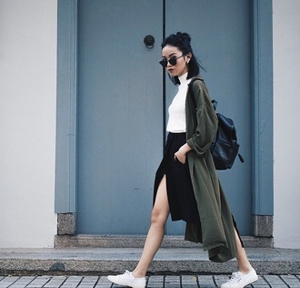jacket shirt skirt sunglasses green coat army green jacket aesthetic tumblr tumblr girl tumblr shirt tumblr outfit duster coat long coat khaki coat fall outfits leather backpack slit skirt