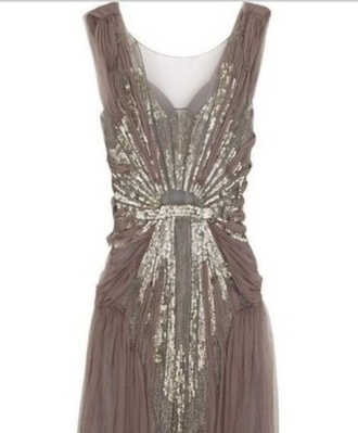 dress taupe prom dress vintage dress sparkle dress gold sequins gold