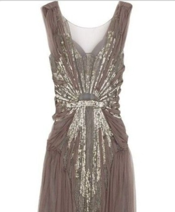 dress taupe prom dress vintage dress sparkly dress gold sequins gold