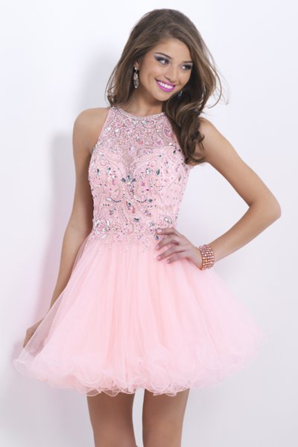 pink dress halter dress party dress cocktail dress 2014 homecoming dress beaded dress