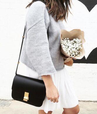 bag black shoulder bag shoulder bag black bag top grey top white skirt skirt flowers