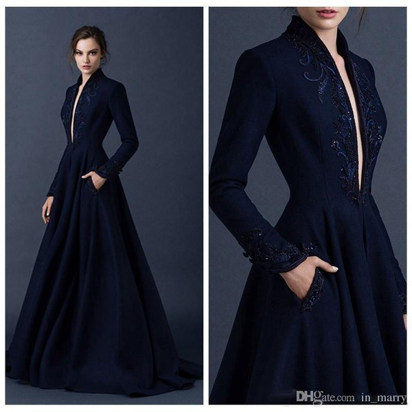 Paolo Sebastian Navy Blue Evening Dresses with Pocket 2015 Long ...