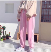 pants,girly,tumblr,stripes,pink,joggers,joggers pants,sweatpants